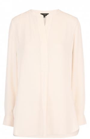 Удлиненная шелковая блуза прямого кроя Theory. Цвет: кремовый
