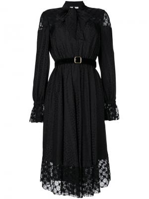 Платье в пейзанском стиле с завязками Philosophy Di Lorenzo Serafini. Цвет: чёрный