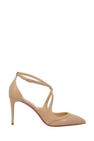 Кожаные туфли Crissos 85 Christian Louboutin. Цвет: пудрово-розовый