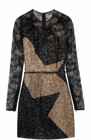 Мини-платье с кружевной отделкой и пайетками Elie Saab. Цвет: золотой