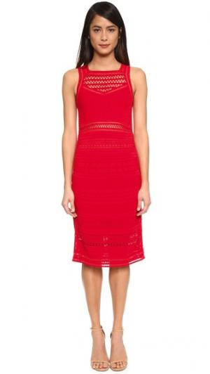 Платье с ажурной отделкой Ohne Titel. Цвет: красный