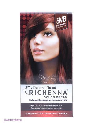 Крем-краска для волос с хной № 5MB (Dark Mahogany) Richenna. Цвет: темно-красный