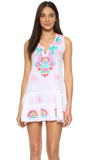 Пляжное платье с вышивкой Juliet Dunn. Цвет: розовый мульти