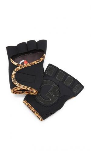 Спортивные перчатки черного цвета с леопардовым принтом G-Loves