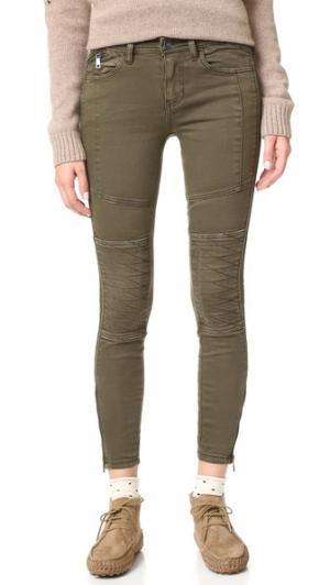 Эластичные джинсы-скинни Midnight Magic в байкерском стиле Free People. Цвет: оливковый