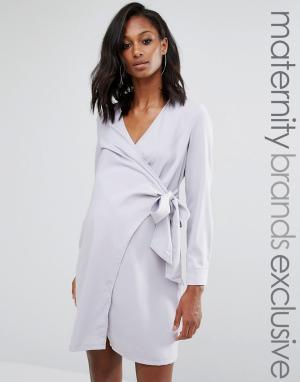 Missguided Maternity Платье-рубашка с запахом для беременных. Цвет: серый