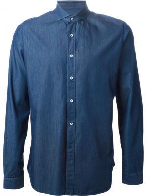 Джинсовая рубашка на пуговицах Vangher. Цвет: синий