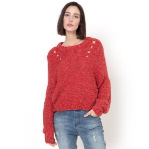 Пуловер Pinda из ажурного трикотажа SUNCOO. Цвет: красный