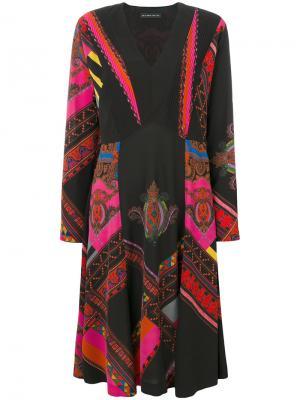 Платье с длинными рукавами и узором Etro. Цвет: чёрный