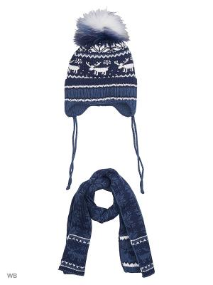 Шапка + шарф MIKIVIKI. Цвет: индиго, темно-синий