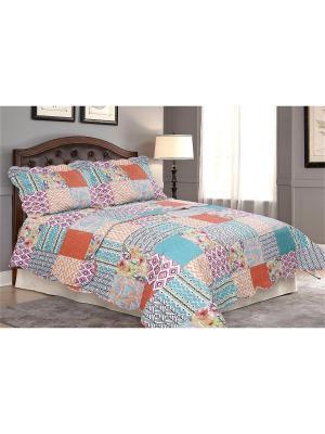 Покрывало Мозайка 2 спальное Евро с наволочками Amore Mio. Цвет: голубой, оранжевый