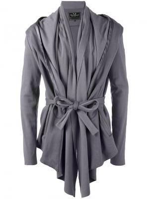 Куртка с драпировкой и поясом Unconditional. Цвет: серый