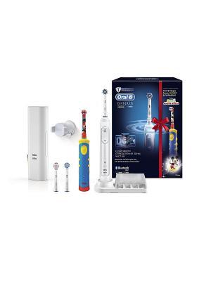 Электрическая зубная щётки ORAL-B Genius White 8200 + детская щетка Mickey Kids в подарочной ORAL_B. Цвет: белый