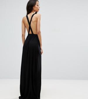 ASOS Tall Трикотажное пляжное платье макси с перекрестом на спине. Цвет: черный
