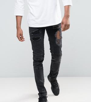 ASOS Черные рваные джинсы скинни с байкерскими молниями TALL. Цвет: черный