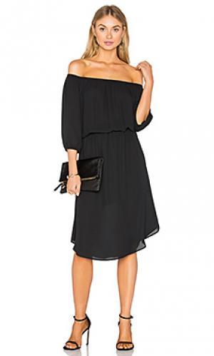 Миди платье с открытым плечом Eight Sixty. Цвет: черный