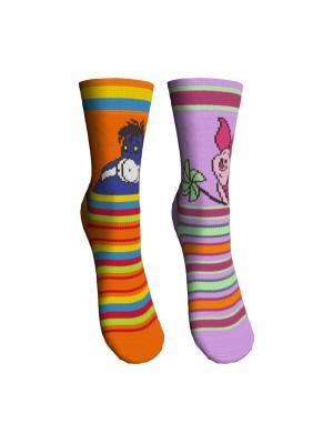 Носки 2 пары Master Socks. Цвет: оранжевый, сиреневый