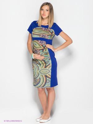 Платье для беременных ФЭСТ. Цвет: синий, зеленый, желтый