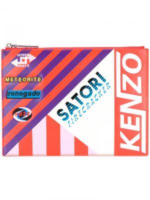 Полосатый клатч с заплаткой Kenzo. Цвет: жёлтый и оранжевый