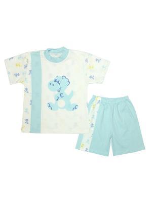 Комплект для мальчика:футболка и шорты ДИНО ОСЬМИНОЖКА. Цвет: светло-голубой, молочный
