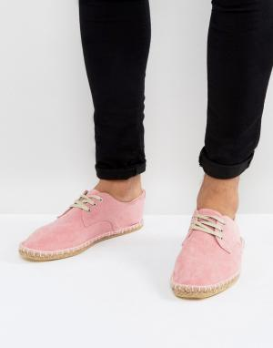 ASOS Розовые эспадрильи из искусственной замши на шнуровке. Цвет: розовый