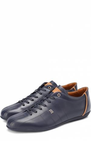 Кожаные кроссовки на шнуровке Bally. Цвет: темно-синий
