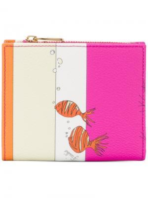 Полосатый кошелек с принтом рыб Emilio Pucci. Цвет: телесный
