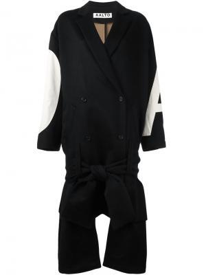 Длинное двубортное пальто Aalto. Цвет: чёрный