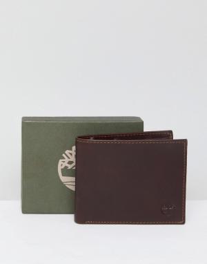 Timberland Коричневый кожаный бумажник с карманом для монет Grafton. Цвет: коричневый