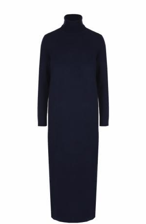 Платье-макси из смеси шерсти и кашемира с высоким воротником Allude. Цвет: темно-синий