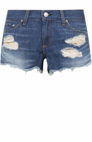 Джинсовые мини-шорты с потертостями Rag&Bone. Цвет: синий