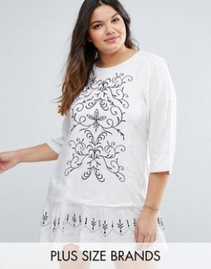 Diya Платье с вышивкой Plus. Цвет: белый