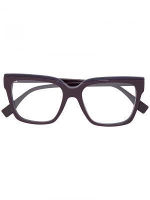Очки с квадратной оправой Fendi Eyewear. Цвет: розовый и фиолетовый