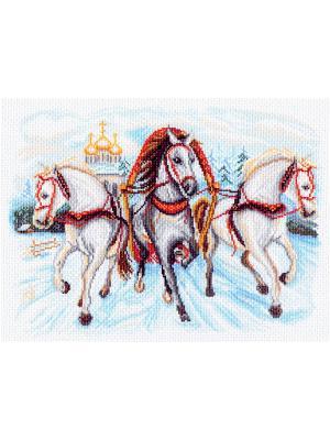 Рисунок на канве Тройка лошадей Матренин Посад. Цвет: белый, голубой, желтый, красный