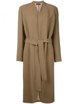 Пальто с поясом The Row. Цвет: коричневый
