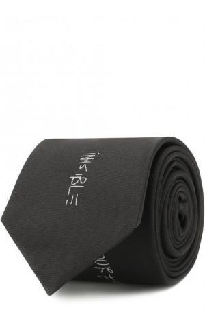 Шелковый галстук с вышивкой HUGO. Цвет: черный