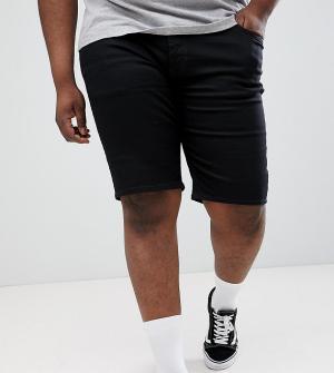 River Island Черные выбеленные джинсовые шорты узкого кроя Big & Tall. Цвет: черный