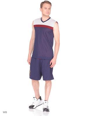 Шорты спортивные Adidas. Цвет: фиолетовый, белый, бордовый