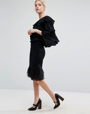 Zacro Вязаная юбка с низом из органзы. Цвет: черный