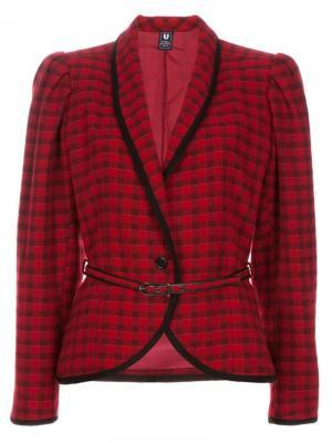 Пиджак в шотландку с поясом Emanuel Ungaro Vintage. Цвет: красный