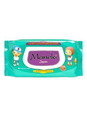 Салфетки влажные детские с экстратом  Алоэ Вера, 60 шт./упак Maneki. Цвет: бирюзовый