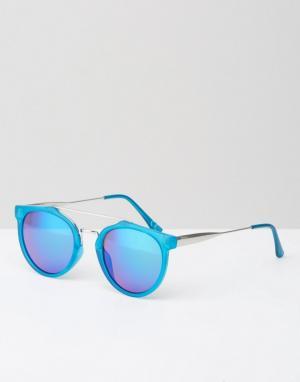 Jeepers Peepers Голубые солнцезащитные очки в круглой оправе с зеркальными стеклами Je. Цвет: синий