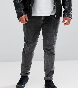 ASOS Черные выбеленные супероблегающие джинсы с рваной отделкой PLUS. Цвет: черный