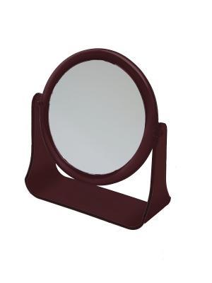 Зеркало  настольное на пластковой подставке Dewal. Цвет: коричневый