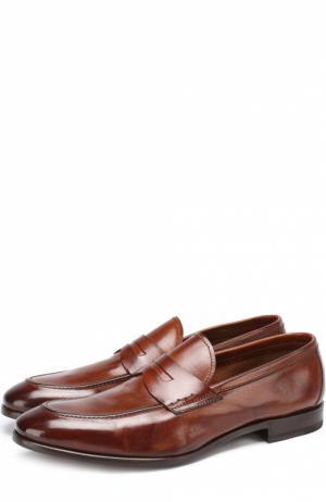 Кожаные пенни-лоферы с острым мысом H`D`S`N Baracco. Цвет: коричневый