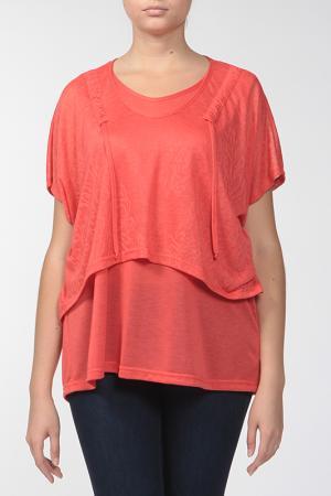 Комплект: блузка, топ KRATOS. Цвет: коралловый