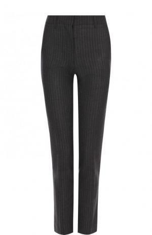 Шерстяные брюки прямого кроя со стрелками CALVIN KLEIN 205W39NYC. Цвет: серый