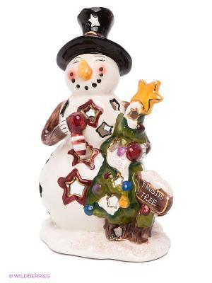 Подсвечник Снеговик с елкой Blue Sky. Цвет: молочный, желтый, черный, зеленый