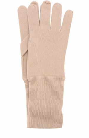 Кашемировые вязаные перчатки Allude. Цвет: бежевый