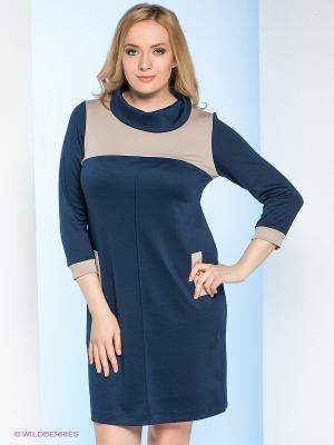 Платье Milana Style. Цвет: синий, бежевый